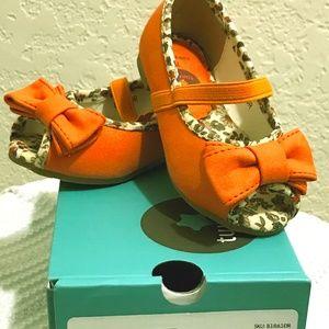 Orange Floral Peep-Toe Flat